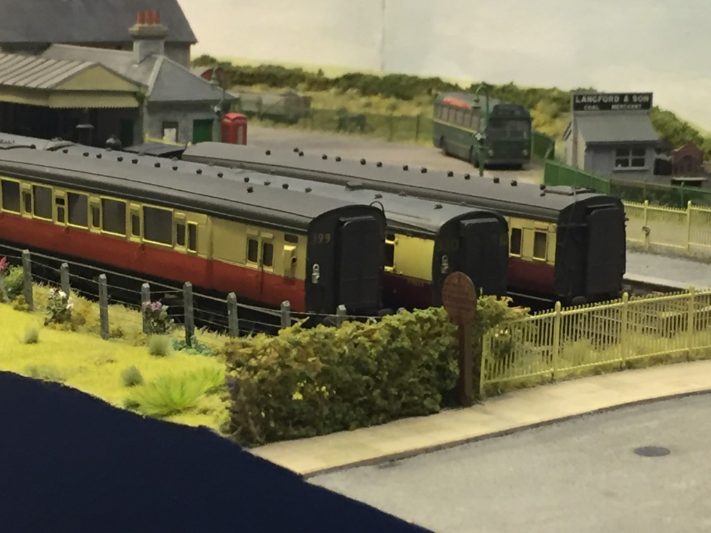 Three coaches seen in sidings on the St Merryn model